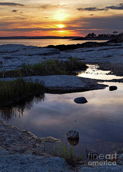 Photograph - Sunset Over Boothbay Harbor, Maine  -23095-23099 by John Bald