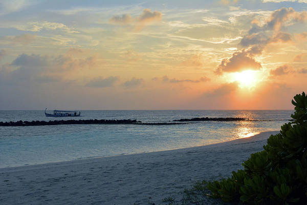 Photograph - Sunset Over The Water In Maldives by Oana Unciuleanu