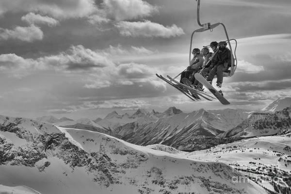 Photograph - Sunshine Village Peak Adventure Black And White by Adam Jewell