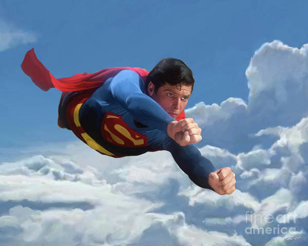 Man Of Steel Wall Art - Painting - Superman Soaring by Paul Tagliamonte