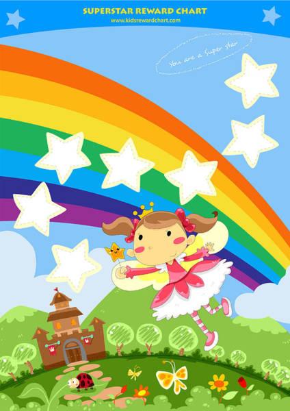 Behaviour Digital Art - Superstar Reward Chart by Rachel Fairy