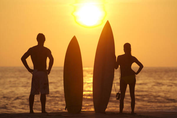 Wall Art - Photograph - Surfer Silhouettes by Larry Dale Gordon - Printscapes