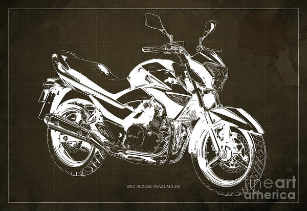 Wall Art - Drawing - Suzuki Inazuma 250 2012 Blueprint Original Art Print by Drawspots Illustrations