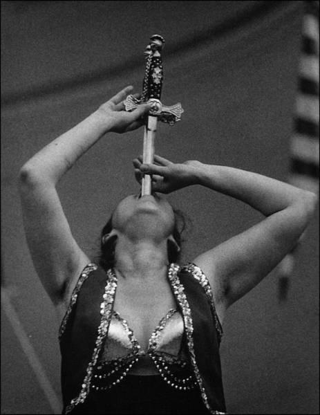 Carnies Photograph - Sword Swallower Carny Performer by Robert Ullmann