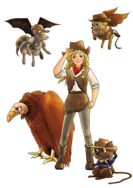 Painting - Tammy And Her Critters Tame The West by Reynold Jay