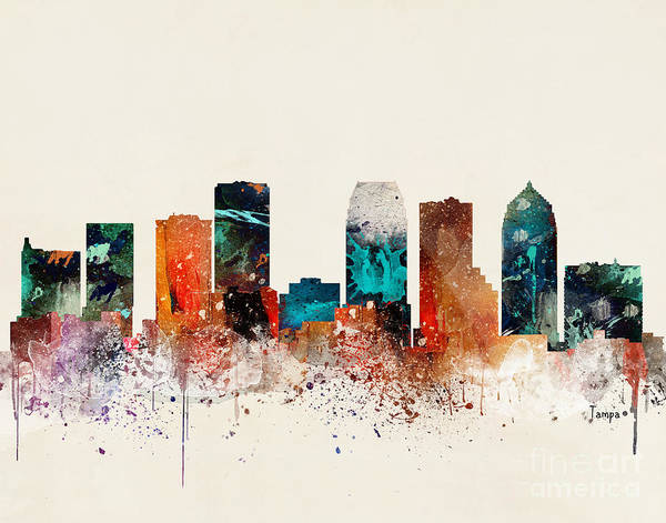 Florida City Painting - Tampa Skyline by Bri Buckley