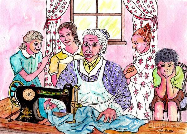 Teaching The Girls How To Sew Art Print