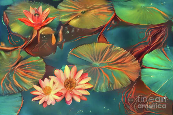 Lilly Pad Digital Art - Teal Waterlilies 8 by Amy Cicconi