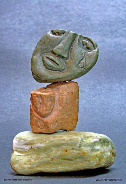 Sculpture - Tears  Heart Rock  Sorrow by Carl Deaville