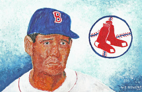 Hitter Painting - Ted Williams by William Bowers