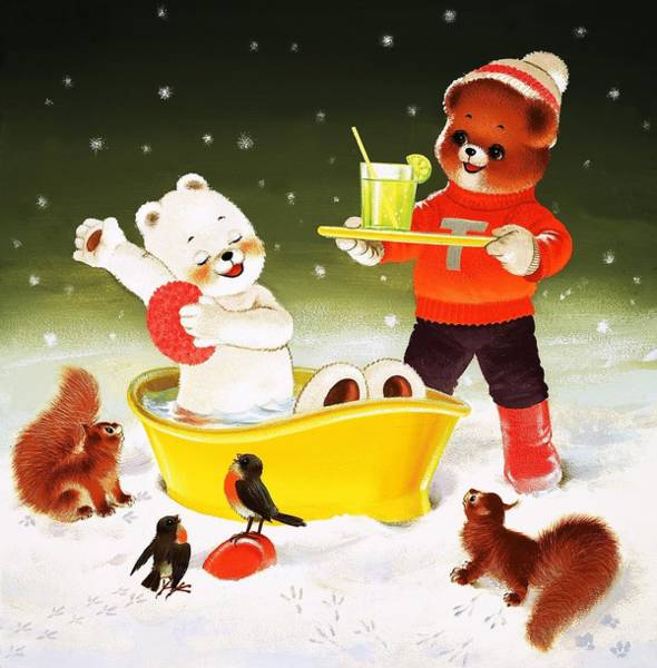 Sponge Painting - Teddy Bear Christmas Card by William Francis Phillipps