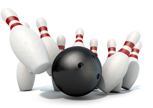 Ten Pin Bowling Wall Art - Digital Art - Ten Pin Bowling Pins And Ball by Allan Swart