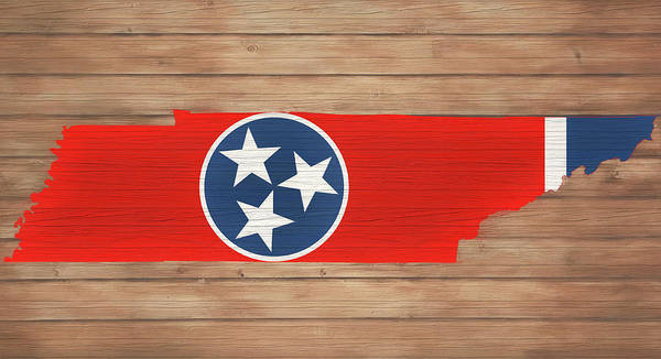 Wall Art - Painting - Tennessee Rustic Map On Wood by Dan Sproul