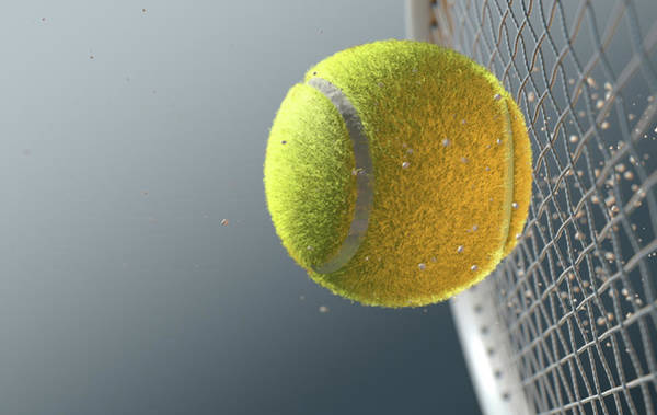 Wall Art - Digital Art - Tennis Ball Striking Racqet In Slow Motion by Allan Swart