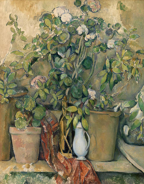 Wall Art - Painting - Terracotta Pots And Flowers by Paul Cezanne