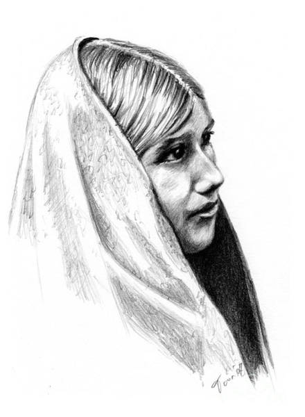 Drawing - Tewa Girl by Toon De Zwart