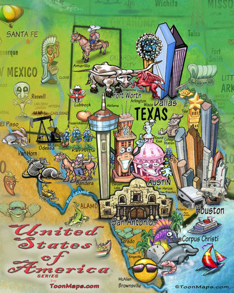 Digital Art - Texas Fun Map by Kevin Middleton