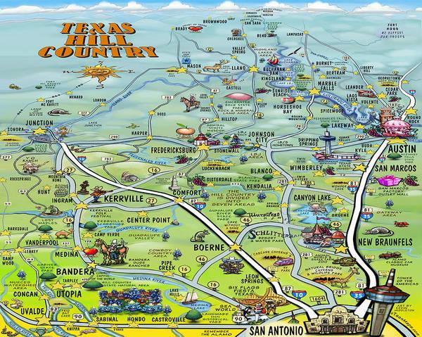 Texas Hill Country Cartoon Map Art Print