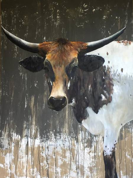 Cows Wall Art - Painting - Texas Longhorn by Cheryl Green