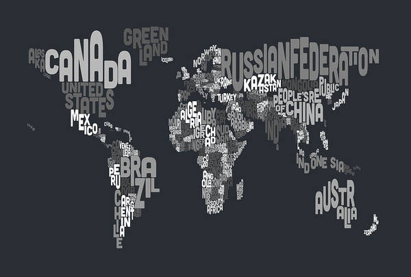 Typographic Wall Art - Digital Art - Text Map Of The World by Michael Tompsett