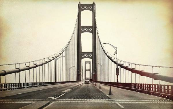St Ignace Wall Art - Photograph - Textured Mackinac Bridge by Dan Sproul