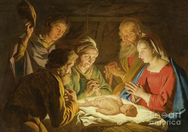Wall Art - Painting - The Adoration Of The Shepherds by Matthias Stomer