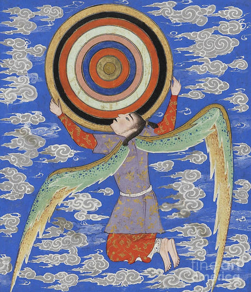 Wall Art - Painting - The Angel Ruh Holding The Celestial Spheres by Persian School