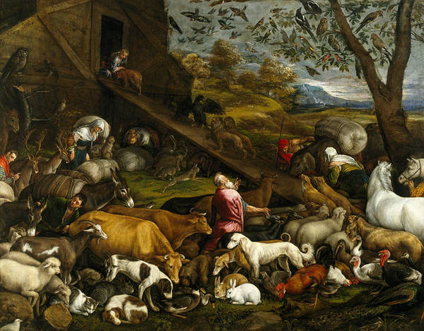 16th Century Wall Art - Painting - The Animals Entering Noah's Ark by Jacopo Bassano