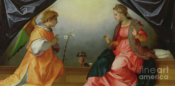 Wall Art - Painting - The Annunciation by Andrea del Sarto