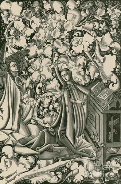 Wall Art - Drawing - The Annunciation by German School