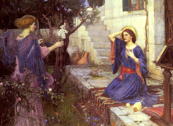 Wall Art - Painting - The Annunciation by John William Waterhouse