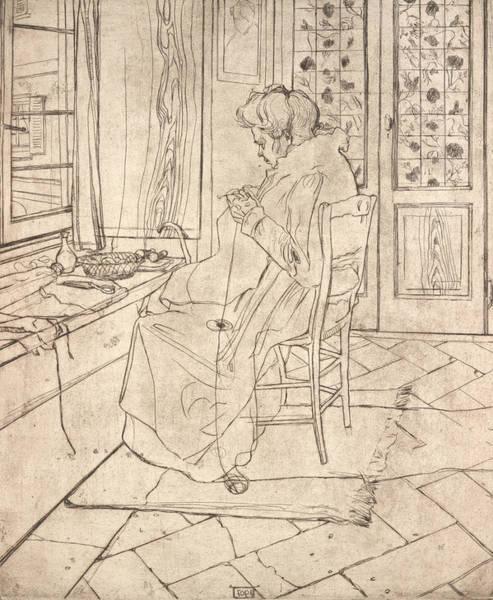 Boccioni Wall Art - Relief - The Artist's Mother Crocheting by Umberto Boccioni