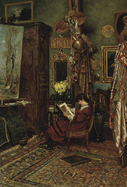Painting - The Artist's Studio by William John Hennessy