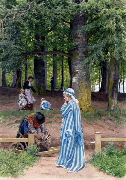 Painting - The Artist's Wife And Daughters In A Park At Heringsdorf by Anton von Werner