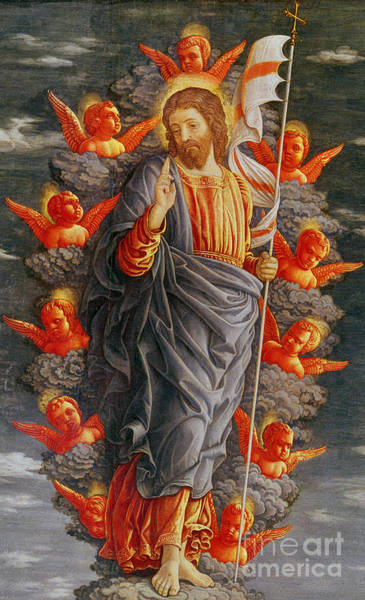 Flying The Flag Wall Art - Painting - The Ascension by Andrea Mantegna