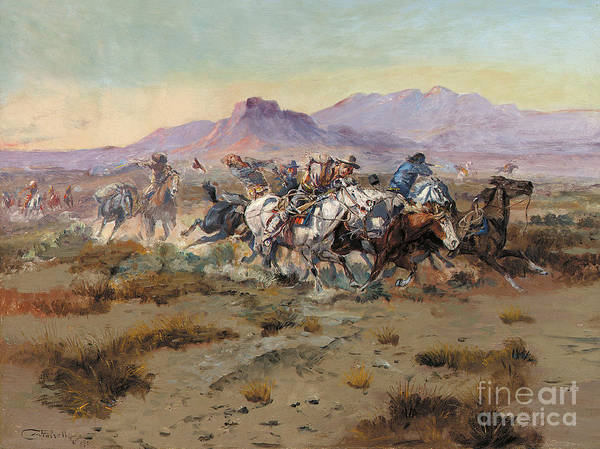 Mountain Range Painting - The Attack by Charles Marion Russell