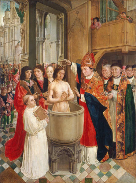 Clovis Painting - The Baptism Of Clovis by Master of Saint Giles