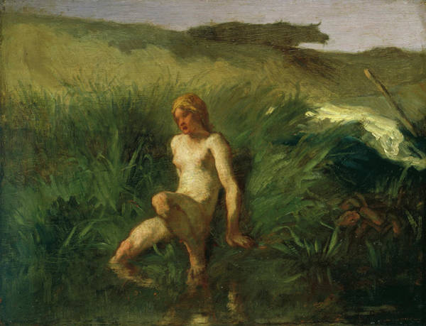 French Painter Wall Art - Painting - The Bather by Jean-Francois Millet