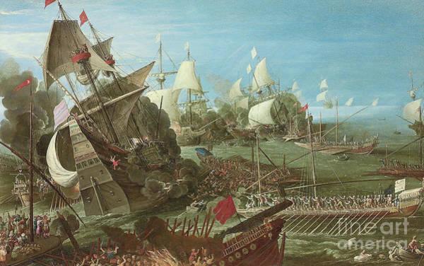 Wall Art - Painting - The Battle Of Lepanto by Andries van Eertvelt