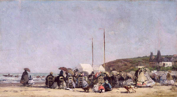 1864 Wall Art - Painting - The Beach At Trouville by Eugene Louis Boudin