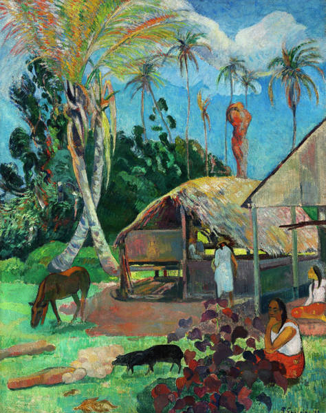 Wall Art - Painting - The Black Pigs by Paul Gauguin