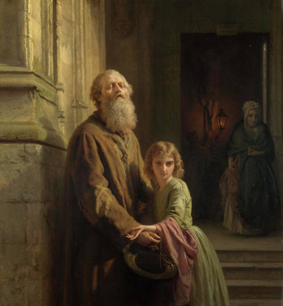 Elderly Painting - The Blind Beggar by Josephus Laurentius Dyckmans
