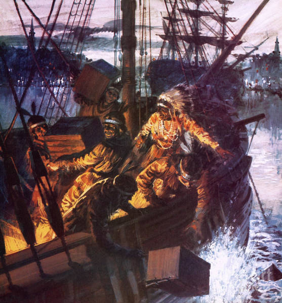 Wall Art - Painting - The Boston Tea Party by English School