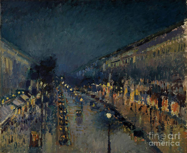 Pavement Wall Art - Painting - The Boulevard Montmartre At Night by Camille Pissarro