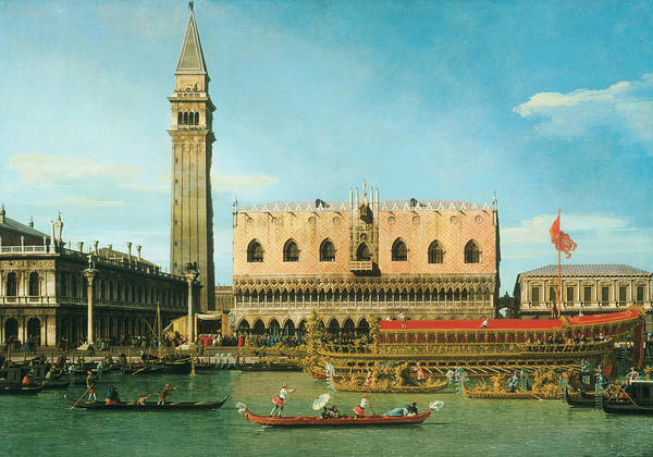 Ascension Painting - The Bucintoro At The Molo On Ascension Day by Canaletto