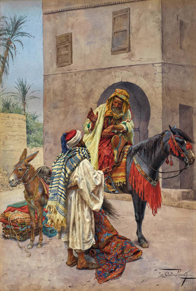 Wall Art - Painting - The Carpet Seller by Giulio Rosati