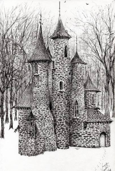 Etching Wall Art - Drawing - The Castle In The Forest Of Findhorn by Vincent Alexander Booth