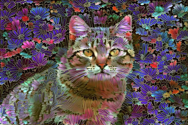 Photograph - The Cat Who Loved Flowers 2 by Peggy Collins