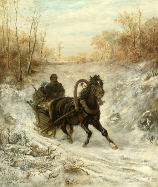 Wall Art - Painting - The Courier by Adolf Schreyer