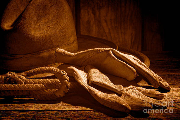 Wall Art - Photograph - The Cowboy Gloves - Sepia by Olivier Le Queinec